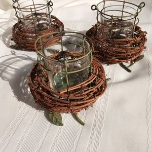 Other - GRAPEVINE BIRDS NEST & METAL TEA CANDLE HOLDERS